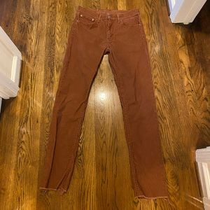 Levi's Cropped Curduroy Pants Orange/Rust
